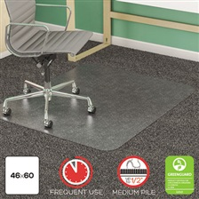 deflecto® Anti-Static Frequent Use Chair Mat for Medium Pile Carpet, 46 x 60, Clear