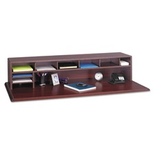 Safco® Low-Profile Desktop Organizer, 10 Sections, 57 1/2 x 12 x 12, Mahogany
