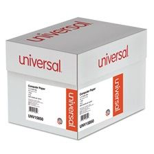 Universal® Green Bar Computer Paper, 15lb, 14-7/8 x 11, Perforated Margins, 3000 Sheets