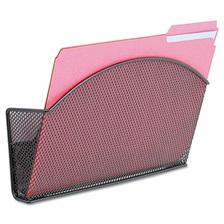 Safco® Onyx Magnetic Mesh Panel Accessories, Single File Pocket, Black