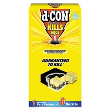 d-CON® Refillable Bait Station & Refills, 3 x 3 x 1 1/4, 0.7oz, 6 Refills/Box, 8/Crtn