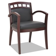 Alera® Alera Reception Lounge 500 Series Arch CutOut Wood Chair, Mahogany/Black Leather