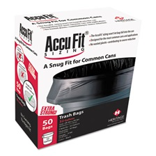 "AccuFit® Can Liners, 55gal, 1.3mil, Black, 40"" x 53"", 50/Box"