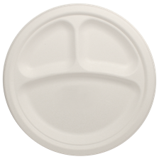 "10"" Bagasse Plate, Round, 3-Compartment, Ref#P007"