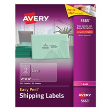 Avery® Clear Easy Peel Shipping Labels, Laser, 2 x 4, 500/Box