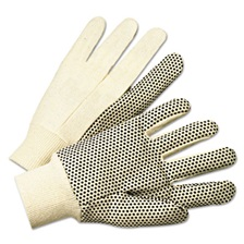 Anchor Brand® PVC-Dotted Canvas Gloves, White, One Size Fits All, 12 Pairs