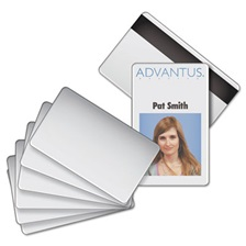 Advantus Blank PVC ID Badge Card with Magnetic Strip, 2 1/8 x 3 3/8, White, 100/PK
