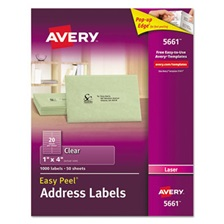 Avery® Clear Easy Peel Address Labels, Laser, 1 x 4, 1000/Box