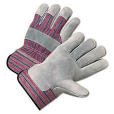 Anchor Brand® 2000 Series Leather Palm Gloves, Gray/Red, Large, 12 Pairs