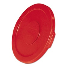 "Rubbermaid® Commercial Flat Top Lid for 10-Gallon Round Brute Containers, 16"" dia., Red, 6/Carton"