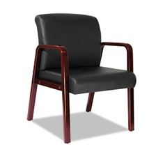 Alera® Alera Reception Lounge Series Guest Chair, Cherry/Black Leather