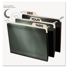 find It™ Hanging File Folders with Innovative Top Rail, Letter, Green, 20/Pack