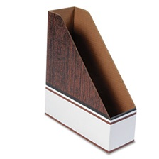 Bankers Box® Corrugated Cardboard Magazine File, 4 x 11 x 12 3/4, Wood Grain, 12/Carton