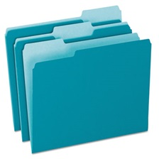 Pendaflex® Colored File Folders, 1/3 Cut Top Tab, Letter, Teal/Light Teal, 100/Box