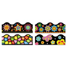 "TREND® Terrific Trimmers Border, 2 1/4 x 39"",  Bright On Black, Assorted, 48/Set"