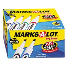 Avery® Marks-A-Lot Desk-Style Dry Erase Marker, Chisel Tip, Assorted, 24/Pack