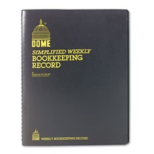 Dome® Bookkeeping Record, Brown Vinyl Cover, 128 Pages, 8 1/2 x 11 Pages