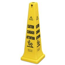"Rubbermaid® Commercial Multilingual Safety Cone, ""CAUTION"", 12 1/4w x 12 1/4d x 36h, Yellow"