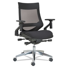 Alera® Alera EB-W Series Pivot Arm Multifunction Mesh Chair, Black/Aluminum Frame