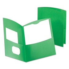 Oxford™ Contour Two-Pocket Recycled Paper Folder, 100-Sheet Capacity, Green