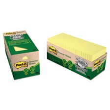 Post-it® Greener Notes Recycled Note Pad Cabinet Pack, 3 x 3, Canary Yellow, 75-Sheet, 24/Pack