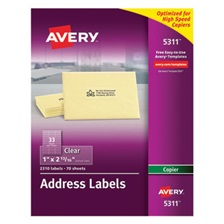 Avery® Clear Easy Peel Copier Address Labels, 1 x 2 13/16, 2310/Pack