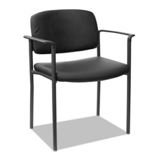Alera® Alera Sorrento Series Stacking Guest Chair, Faux Leather, Black, 2/Carton