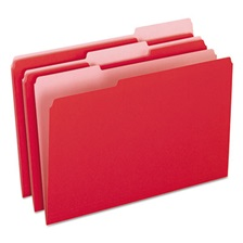 Pendaflex® Colored File Folders, 1/3 Cut Top Tab, Legal, Red/Light Red, 100/Box
