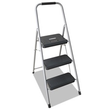 Louisville® Black and Decker Steel Step Stool, Three-Step, 200 lb Cap, Gray