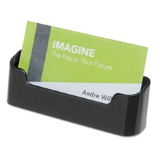 deflecto® Recycled Business Card Holder, Holds 50 2 x 3 1/2 Cards, Black
