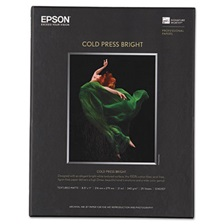 Epson® Cold Press Bright Fine Art Paper, 8-1/2 x 11, Bright White, 25 Sheets