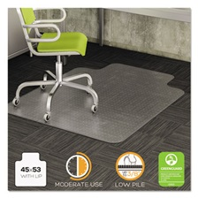 deflecto® DuraMat Moderate Use Chair Mat for Low Pile Carpet, 45 x 53 w/Lip, Clear