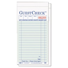 National Checking Company™ Guest Check Pad, 3 1/2 x 6 3/4, Green/White, 50/Carton