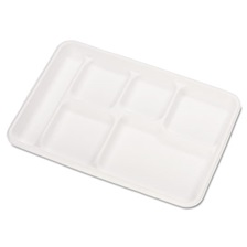 Chinet® Heavy-Weight Molded Fiber Cafeteria Trays, 6-Comp, 8 1/2 x 12 1/2, 500/Carton