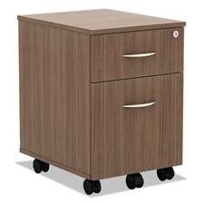 Alera® Alera Valencia Series Mobile Box/File Pedestal, 15 7/8 x 19 1/8 x 22 7/8, Walnut