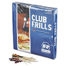 "Royal Club Cellophane-Frill Wood Picks, 4"", Assorted, 10000/Carton"