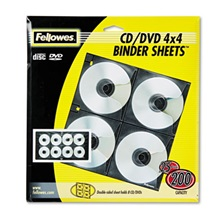 Fellowes® Two-Sided CD/DVD Refill Sheets for Three-Ring Binder, 25/Pack