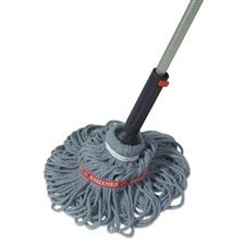 "Rubbermaid® Commercial Ratchet Twist Mop, Self-Wringing, Blended Yarn Head, Blue, 56"" Handle"
