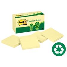 Post-it® Greener Notes Recycled Note Pads, 3 x 3, Canary Yellow, 100-Sheet, 12/Pack