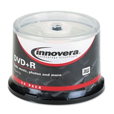 Innovera® DVD+R Discs, 4.7GB, 16x, Spindle, Silver, 50/Pack
