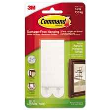 "Command™ Picture Hanging Strips, 1/2"" x 3 5/8"", White, 4/Pack"