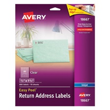 Avery® Clear Easy Peel Return Address Labels, Inkjet, 1/2 x 1 3/4, 800/Pack