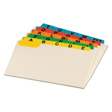 Oxford™ Laminated Index Card Guides, Alpha, 1/5 Tab, Manila, 3 x 5, 25/Set