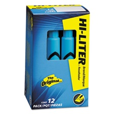 Avery® HI-LITER Desk-Style Highlighter, Chisel Tip, Light Blue Ink, Dozen