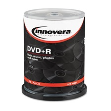 Innovera® DVD+R Discs, 4.7GB, 16x, Spindle, Silver, 100/Pack