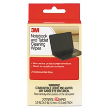 3M™ Notebook Screen Cleaning Wet Wipes, Cloth, 7 x 4, White, 24/Pack