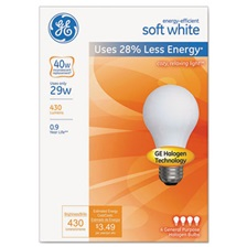 GE Energy-Efficient Halogen Bulb, A19, 29 W, Soft White, 4/Pack