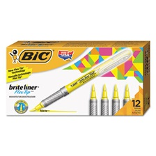 BIC® Brite Liner Flex Tip Highlighters, Brush Tip, Yellow, 1 dozen