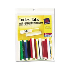 Avery® Insertable Index Tabs with Printable Inserts, Two, Assorted Tab, 25/Pack