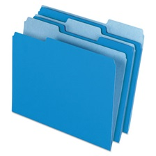Pendaflex® Colored File Folders, 1/3 Cut Top Tab, Letter, Blue/Light Blue, 100/Box